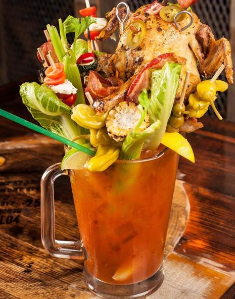 Bloody Mary with a whole chicken!